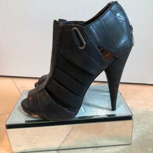 Black Leather Strapy heels